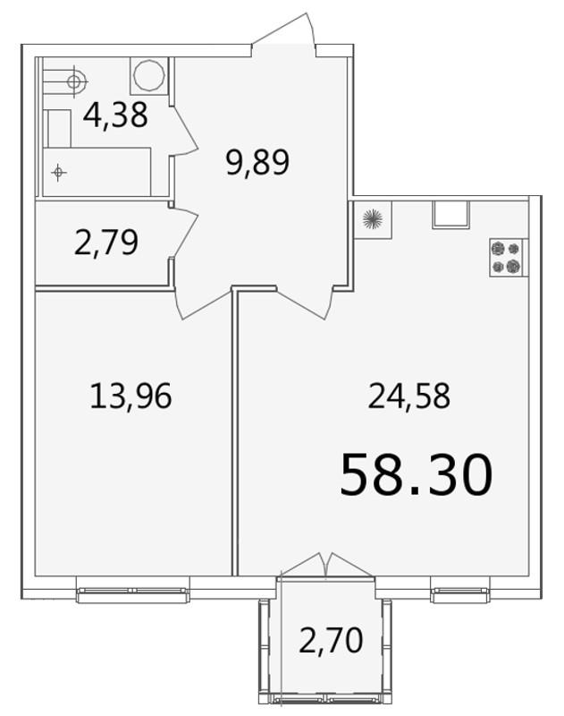 Планировка Однокомнатная квартира площадью 58.4 кв.м в ЖК «Grani»