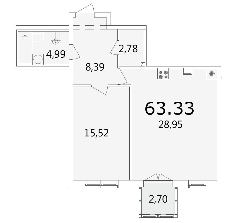 Планировка Однокомнатная квартира площадью 63.6 кв.м в ЖК «Grani»