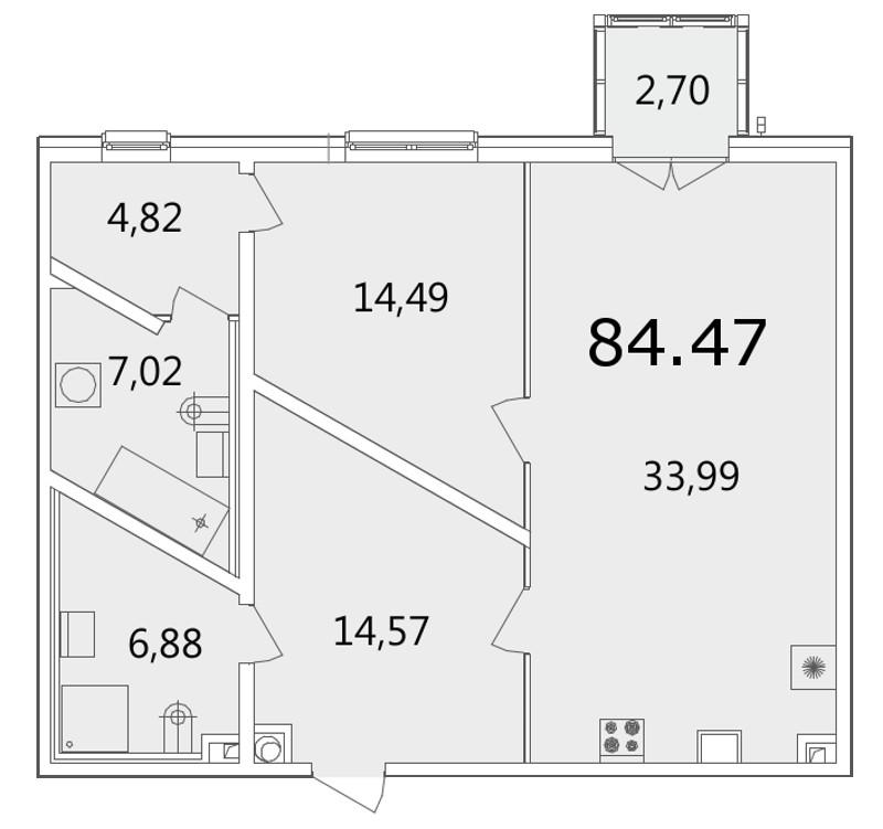 Планировка Однокомнатная квартира площадью 84.7 кв.м в ЖК «Grani»