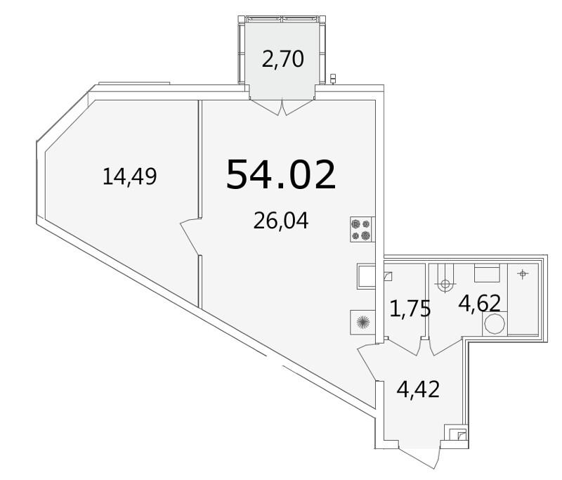 Планировка Однокомнатная квартира площадью 54.3 кв.м в ЖК «Grani»