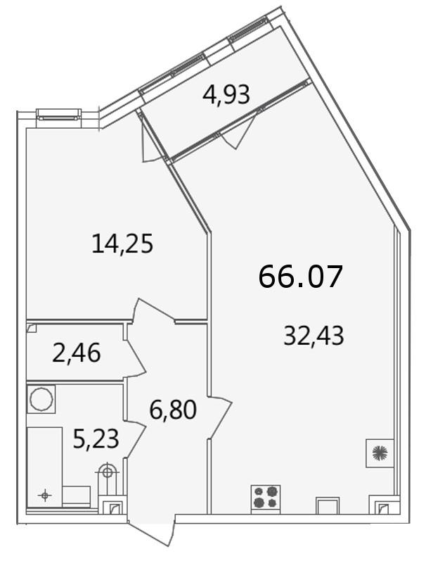 Планировка Однокомнатная квартира площадью 65.9 кв.м в ЖК «Grani»